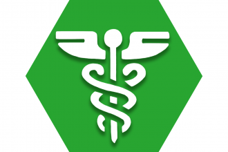 Green hexagon with symbol of caduceus representing UFT Medical Learning Series