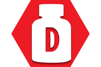 Red hexagon with prescription bottle with D on it
