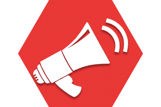 Hexagon with red background showing bullhorn