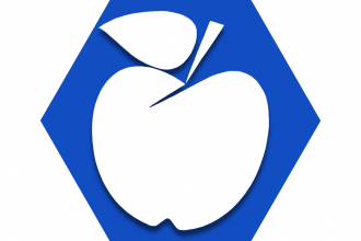 Blue hexagon with outline of apple