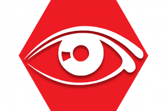 Red hexagon with outline of eye