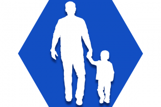 Hexagon with blue background showing outline of adult holding child hand