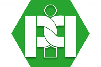 Green hexagon with symbol that features two Ps intertwined around a letter I representing UFT Peer Intervention Program