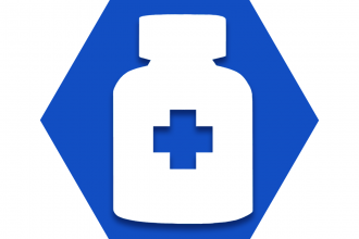 Blue hexagon with prescription drug bottle