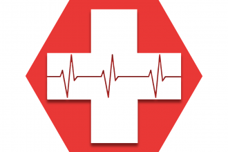 Hexagon with red background showing pulse EKG