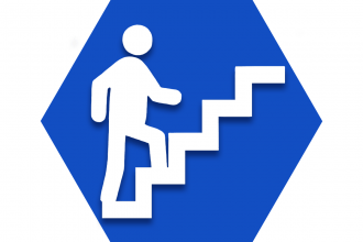 Blue hexagon showing outline of person walking up steps