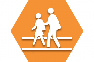 Orange hexagon with adult and child walking