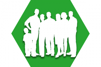 Hexagon with green background showing outline of a group of people representing UFT serving our communities