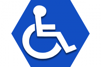 Hexagon with blue background showing figure in wheelchair - UFT students with disabilities
