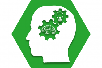 Green hexagon with symbol of a head with gears inside that show a brain and lightbulb, representing UFT Teacher Leadership