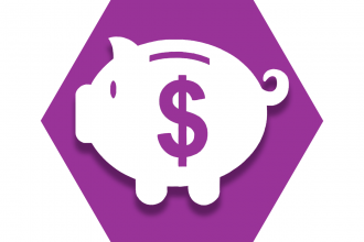 Purple hexagon with a piggy bank and dollar symbol representing Teacher's Choice