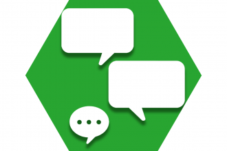 Hexagon with green background showing speech bubbles representing UFT text messages