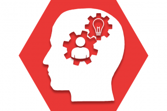 Hexagon with red background showing outline of a brain