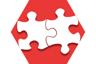Hexagon with red background showing puzzle pieces