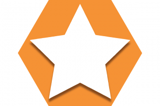 Hexagon with orange background showing a white star