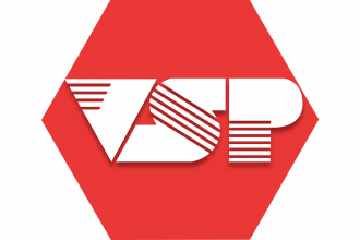Red hexagon with letters VSP