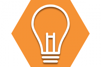 Hexagon with orange background showing outline of a light bulb