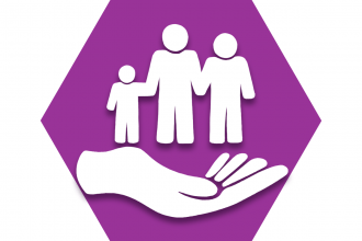 Purple hexagon showing outline of a hand underneath a family