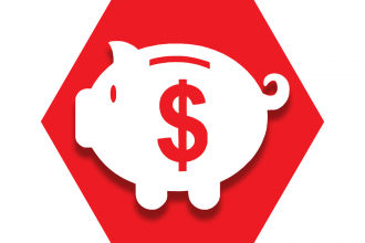 Red hexagon with outline of a piggy bank and dollar sign