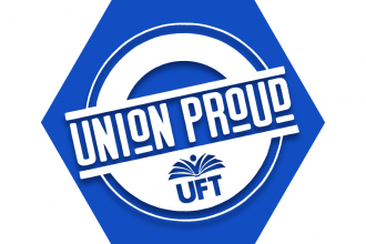 Blue hexagon showing outline of UFT logo and Union Proud