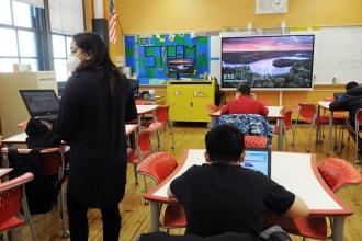 STEM teacher Sharjana Rohman leads her 6th-grade class at JHS 259 in Brooklyn on Feb. 25.