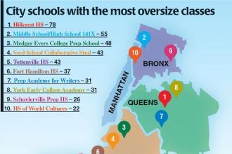 Map of the five boroughs showing the 10 schools with the most oversized classes