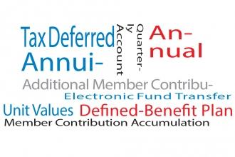 Words as an image: tax deferred, benefits, annuity, unit values, defined benefit