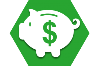 Hexagon with green background showing piggy bank