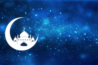 Moon and mosque on a starry background