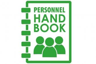Spiral Notebook that says Personnel Handbook