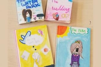 Four book covers illustrated by students reading The Water Park, The Wedding, the Bike