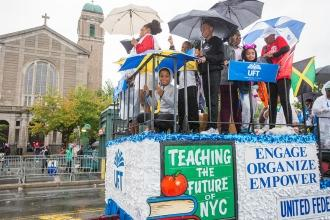 Group of members on UFT float