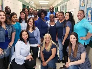 Educators at PS 168 in the Bronx are as beautiful in blue as is their message of