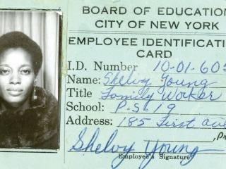 Young-Abrams' first Board of Education ID card.