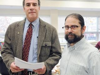 History teacher Arnie Mansdorf (left) and Chapter Leader Jonathan Halabi are the