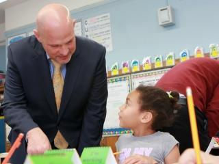 UFT President Michael Mulgrew talks about student work at PS 192 in Manhattan, t