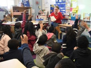 PS 446 teacher Katie Luft works with her students, now in 3rd grade, for the sec