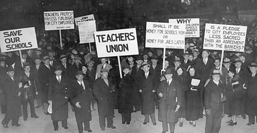 A Depression-era protest by members of the Teachers Union, an early UFT precursor.