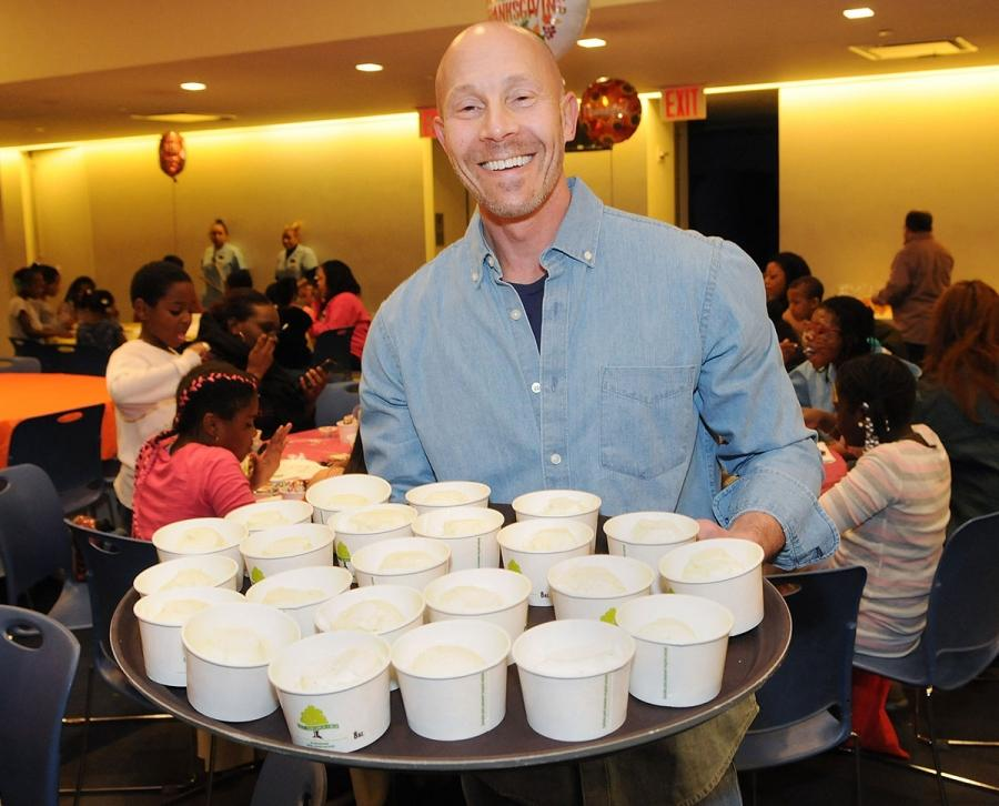 UFT Vice President for Middle Schools Richard Mantell serves ice cream for make-