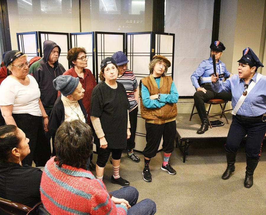 "UFT Players act out a scene from ""Rip Off,"" an original musical love story."