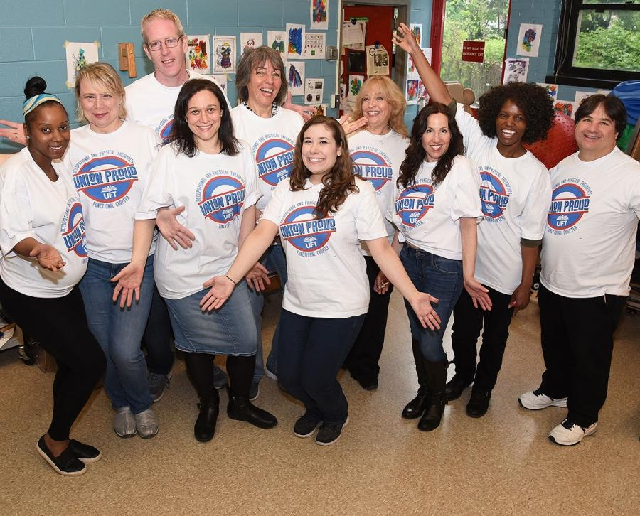 Staff members at PS 721 on Staten Island show their pride and support.
