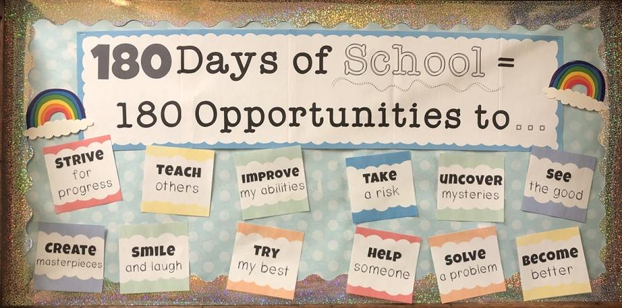 "Bulletin board that says ""180 days of school = 180 opportunities to..."""