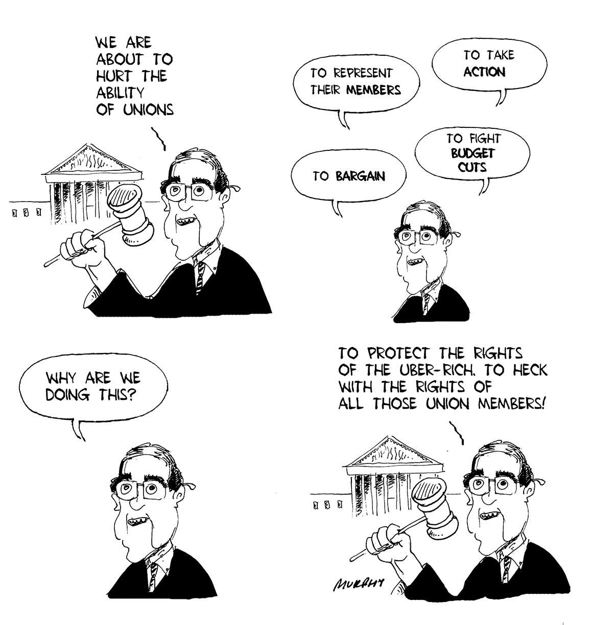 Justice Scalia expounds the Friedrichs case