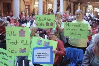Advocates for public education gathered at the Indiana Statehouse on Feb 20.