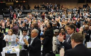 UFT member lobbyists give a standing ovation to New York Assembly Speaker Carl E