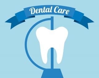 "Illustration of a tooth with a banner, ""Dental Care"""