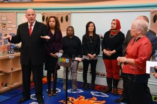 UFT President Michael Mulgrew (left), speaking at a press conference Dec. 21 at