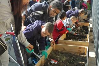 Everyone digs in to get the school garden — financed by a winning grant — growin