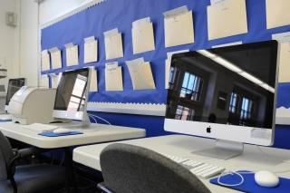 The shiny new workstations at the school's Teacher Center.