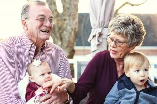 Retired couple with grandkids